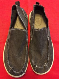 44892e36851 Op Mens size 10 M Gray Canvas Slip On Beach Loafers