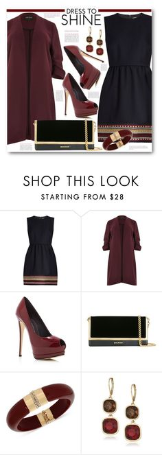 """""""Embroidered Twill Dress & Duster Jacket"""" by brendariley-1 ❤ liked on Polyvore featuring RED Valentino, River Island, Giuseppe Zanotti, Balmain, INC International Concepts and Anne Klein"""