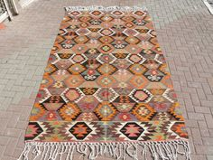 VINTAGE Turkish Kilim Rug Carpet Handwoven Kilim by TurkishKilim