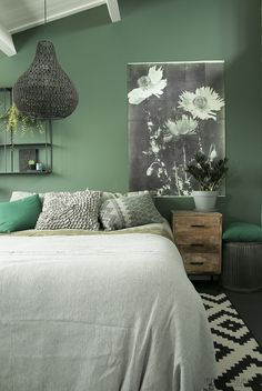Room Design Ideas For Bedrooms Bedroom Green, Bedroom Inspirations, Beautiful Bedrooms, Green Rooms, Green Home Decor, Room Design, Room Decor, Bedroom Design, Bedroom Wall Colors