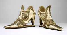 """Slap-Sole Shoes: ca. mid-17th century, Italian (probably). """"These...slap-sole shoes were once the property of the descendents [sic] of Frances Walsingham, whose secret marriage to Robert Devereux, the last favourite of Queen Elizabeth I, contributed to his downfall. They may have been a gift to one of her family members and reflect the fashion of attenuated toes in the 1660s. Visual evidence of the origin of the slap-sole, which was originally a mule and a heeled shoe joined together..."""""""