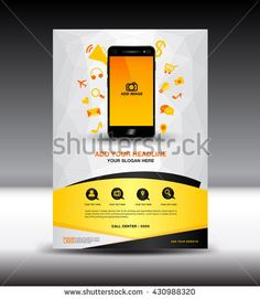 Blue business brochure flyer design layout Magazine Ads,Mobile infographics - stock vector