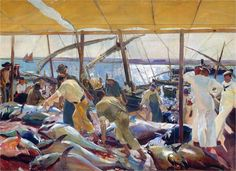 Page: The Tunny Catch Artist: Joaquín Sorolla Completion Date: 1919 Place of Creation: Spain Style: Impressionism Genre: genre painting Technique: oil Material: canvas Dimensions: 349 x 485 cm Gallery: Private Collection