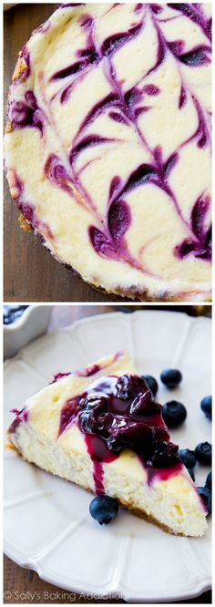 Ultra creamy homemade cheesecake swirled with a sweet blueberry swirl. All on top of my favorite buttery graham cracker crust! sallysbakingaddiction.com
