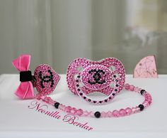 Pacifier made with Swarovski Crystal - Pacifier with Chanel logo - Pacifier Clip - Baby Shower Gift - Bling dummy - Chanel baby. Pacifier Swarovski