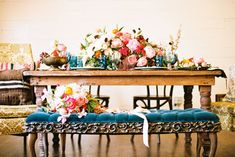 A stylish & bold palette: mixed prints & solids in cerulean/prussian blue & yellow with warm floral splashes in coral/pink/raspberry/yellow/peach and black & white details