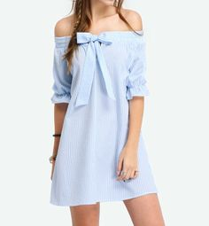 Dreaming of sunny weather with our off the shoulder bow dress. Available in limited quantities in blue. https://instagram.com/p/BSbM81nB3aL/