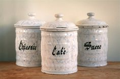Vintage French Enamel Canisters  Blue & White by GaloreGalore, €84.00