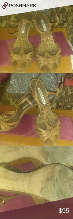 Manolo Blahnik leather Sandals Beautiful shoe! Vintage sandals. Wear on bottom from 6 years! Still beautiful. Size says 39.5 but I wear 8.5 and these fit perfect. Heels could use reinforcement for cosmetic reasons, but I love these! Manolo Blahnik Shoes