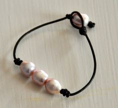 Freshwater Pink Pearl and Leather Bracelet/Pink by BonafideBeads