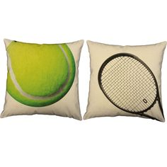 Tennis Equipment Throw Pillows