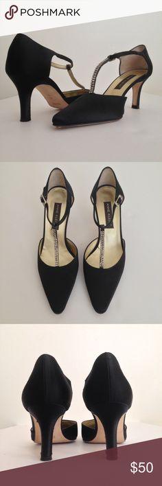 4bb8e901d23c Anne Klein Shoes Sandals. Black Satin Heels w  Rhinestone T-straps