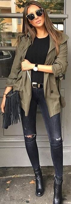 #fall #outfits green jacket black jeans boots
