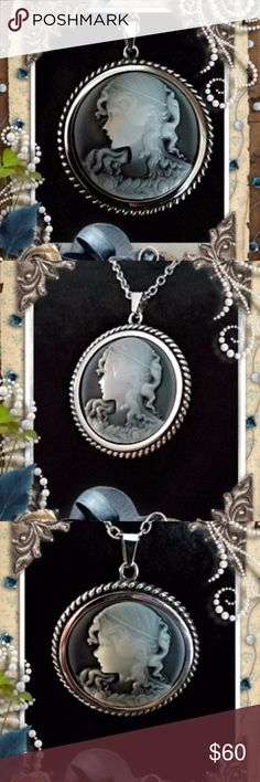 "Perfect Cameo Pendant - Stainless Steel -n- Stone Large Cameo Pendant made of Stainless Steel and carved stone. sure to become a Cherished Family Heirloom. ... included is a 24"" Stainless Steel chain w/a 2"" extension chain. Cameo Jewelry Necklaces"