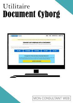 Convertir une page web en PDF, en Word, en TXT... voici ce que permet de faire en quelques clics l'utilitaire Document Cyborg. Page Web, Document, Voici, Bar Chart, Ads, Professional Tools, Bar Graphs