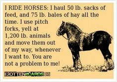 I RIDE HORSES: I haul 50 lb. sacks of feed, and 75 lb. Bales of hay all the time. I use pitch forks, yell at 1, 200 lb. animals and move them out of my way, whenever I want to. You are not a problem to me! This is a pretty neat little breakdown of the strength in of all of us horse enthusiast's and equestrian's.
