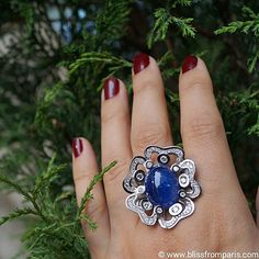 """Pensée sauvage"""" ring by @tournaireparis set in white gold with diamonds and tanzanite. #blissfromparis #jeweleryblog"""