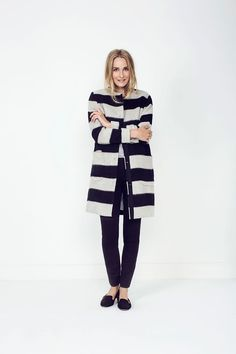 We are loving this on trend elegant coat from Part two this season. It's Monotone stripes and simplicity make it a great piece for any wardrobe. there are two pockets on the front. Stripes, Pockets, Wool, Elegant, Fabric, Sweaters, How To Make, Outfits, Fashion