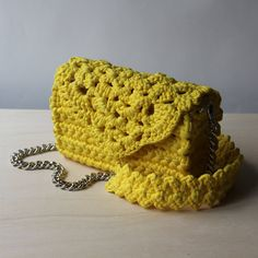 Vivid yellow crocheted lace clutch  Romantic crochet lace