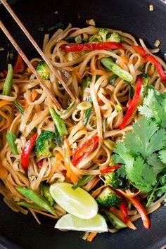 vegan pad thai in a wok