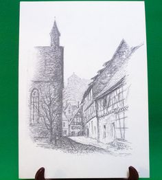 1977 Print Of Pen Sketch By Tübingen Artist Georg Salzmann, Salzstadelgasse - $5.95