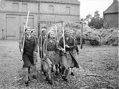 "1939 - Berlin girls of the League of German Girls after haymaking.  Before entering any occupation or advanced studies, German girls had to complete a year of land service (""Landfrauenjahr""). The aim of land was to bring young people back from the cities, in the hope that they would then stay ""on the land"" in service of Nazi blood and soil beliefs. Another form of service was as a domestic work in a family with many children."
