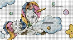 Unicorn Knitting Pattern, Unicorn Cross Stitch Pattern, Cross Stitch Letters, Cross Stitch Baby, Cat Cross Stitches, Cross Stitch Embroidery, Bead Loom Patterns, Stitch Patterns, Swedish Weaving
