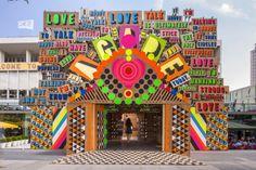 « The Temple of Agape » est une installation réalisée par Morag Myerscough et Luke Morgan pour le Festival of Love à Southbank Centre à Londres, qui se déroule du 28 juin au 31 aout 2014.  La structure du temple est faite à partir d'échafaudages tandis que les panneaux qui la recouvre ont été peints en atelier par les deux artistes et des bénévoles.