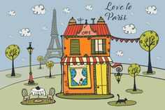 Love To Paris Free Vector Illustration is a beautiful picture. It depicts a cute cafe with a table, trees and the Eiffel Tower in the background Cute Cafe, Free Vector Illustration, Paris Cafe, Free Vector Graphics, Icon Set, Beautiful Pictures, Free Icon, Art, Travel