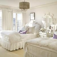 Joy Tribout - girl's rooms - white, twin, headboards, flanking, mirrored, nightstand, white, sunburst, mirror, silver, pillows, purple, lumbar, pillow, faceted chandelier, pleated bed skirt, pleated bedskirt, Worlds Away Faceted Chandelier,