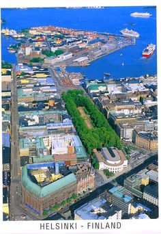 Helsinki, Finland: farthest isle of Katajanokka, in the middle Esplanad Park, in front of it the Swedish Theater, in the left corner Stockmann department store. Lappland, Visit Helsinki, Finland Travel, Scandinavian Countries, Aerial View, Budapest, Denmark, Alaska, Parks