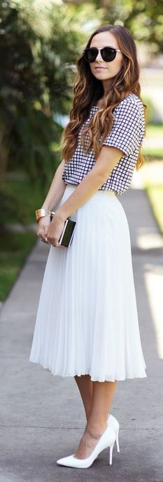Gingham And Pleats Outfit Idea