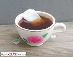 How to make an edible tea bag and realistic clear non-spillable tea for your edible gum paste teacup!