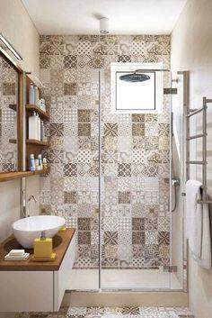 petite salle de bain moderne carreaux de ciment couleurs neutres #bain #moderne #bathroom