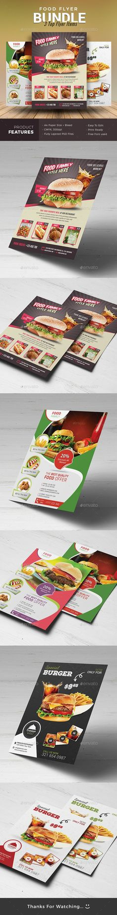 #Restaurant #Flyer Bundle - Restaurant Flyers Download here: https://graphicriver.net/item/restaurant-flyer-bundle/19486557?ref=alena994