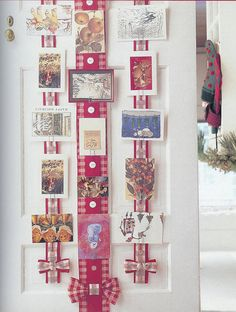 Ribbon Christmas Card Holder - thinking of using this to display my cards this year.