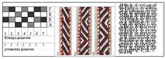Схема 4. Заправка дощечек с 4 отверстиями для поясов саржа 2/2