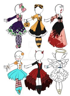 Cheap Halloween Outfits CLOSED by Aligelica on DeviantArt anime outfits Cheap Halloween Outfits CLOSED by Aligelica on DeviantArt Doll Drawing, Dress Drawing, Drawing Sketches, Drawing Faces, Drawing Tips, Halloween Outfits, Cheap Halloween, Halloween Ideas, Drawing Anime Clothes