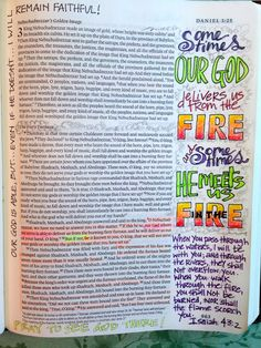 Daniel 3 bible Journaling Vintage Grace- the work of Pat Maier Favorite Bible Verses, Bible Verses Quotes, Scriptures, Scripture Art, Bible Art, Bible Study Journal, Art Journaling, Scripture Journal, Learn Hebrew Online