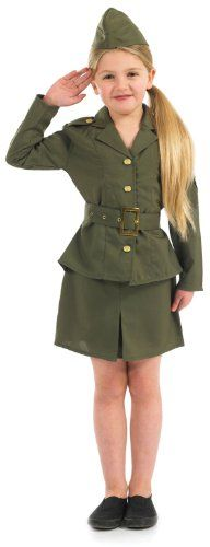 Party On Fancy Dress Big Girls Ww Army Fancy Dres Costume Age 68 Years Multicolor ** Click image for more details-affiliate link. #MilitaryCostums