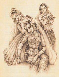 Radharani Shringar Yashoda Krishna, Krishna Hindu, Lord Krishna Images, Radha Krishna Pictures, Krishna Radha, Krishna Leela, Indian Drawing, Radha Rani, Krishna Painting