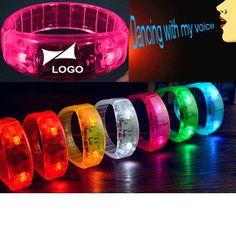 """Sound and motion sensor lighted bracelet. Combining the lights and fun design of the original lighted bracelet with the innovation and fun of a sound and motion activated flash, the one-of-a-kind item will twinkle and pulse when exposed to sound or motion! Give your clients a brightly lit boost with our colorful 8"""" plastic light up glow bangle bracelet,one size fit all! Perfect for promoting concerts, clubs, parties and any night events! Very visible promotional product. Batteries in..."""