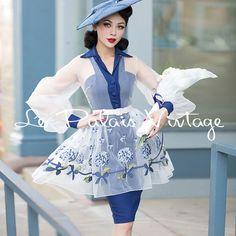 Le Palais Vintage Hydrangea Organza Lantern Sleeve Slim Dress -Designed by Winny #LePalaisVintage #LanternSleeve