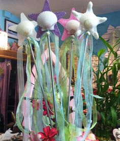 mermaid wands I made for Girl in the Curl Surf Shop in Dana Point...