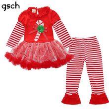 Girls Christmas Clothing sets Red Ruffle Tutu Dress + stripe pants 2pcs Baby Toddler Xmas Sets Autumn kids outfits for Christmas(China (Mainland))