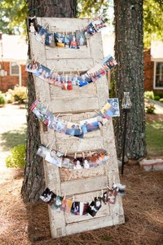 engagement pics mixed with childhood pics - genius display