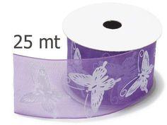 Nastri di organza - Nastro di Organza Viola con Farfalle mm.40 mt.25 - un prodotto unico di raffasupplies su DaWanda