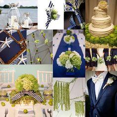 Psalm117.Etsy.com: Navy Blue Marine Wedding - navy blue marine chartreuse lime green wedding color chart pomander decorations