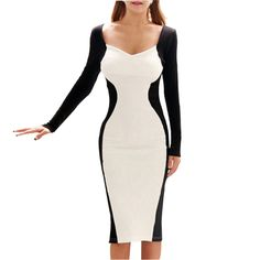 H0255 Wholesale Hot Sale New Fashion Full Sleeve Patchwork Pencil Party Evening Sexy Bodycon Women Dresses Size S M L XL XXL #Affiliate