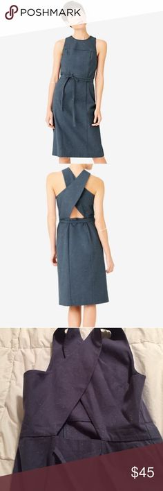 Kate Spade Saturday Chambray Dress Tie around dress with front pocket and crisscross back detail. Worn once. Size 4 but it would fit a size 2 better. Excellent condition, perfect for summer. kate spade Dresses